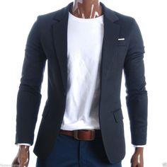 FLATSEVEN Herren Slim Fit Freizeit Premium Blazer Sakko (BJ102) Schwarz