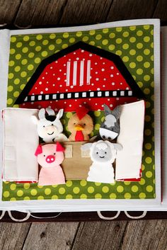 This one is really cute. A lot more work than some. I like the handles on the book. The barn could be simple to do and you could use finger puppets from IKEA for the animals instead of having to make them. I really like the tennis shoe page for lacing and tying skills.