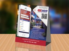 A promotional table tent design to help a client promote their mobile app.