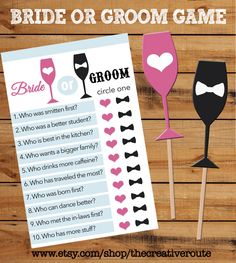 Bride or Groom Printable Game with matching props! Bridal Shower, Engagement Party, Couple Shower, or Wedding game. Printable Props included by TheCreativeRoute on Etsy https://www.etsy.com/listing/203318636/bride-or-groom-printable-game-with