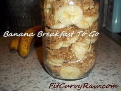 Low Fat Raw Vegan Banana Breakfast To Go-Sliced bananas layered with a walnut and dried mulberry mixture. You can also add banana milk and turn it into banana nut oatmeal.