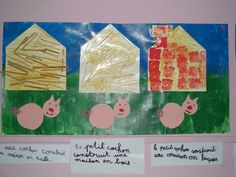 Les 3 Petits Cochons - pre traced squares and triangles - used shredded paper (paie), popsicle sticks (bois) and red construction paper rectangles (briques) TRY: Adding text Nursery Rhymes Preschool, Preschool Classroom, Preschool Crafts, Kindergarten, Creative Curriculum, Three Little Pigs, Construction Paper, Fairy Tales, Arts And Crafts