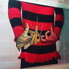 Freddy Krugger bloodgang Black Cartoon, Cartoon Art, Mens Gucci Belt, Horror Movie Tattoos, Blood Tattoo, Blood Wallpaper, Blood Art, Brown Pride, Bandana Styles