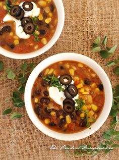 Taco Soup {Use veg broth instead of chicken & replace cheese & sour cream with vegan versions}