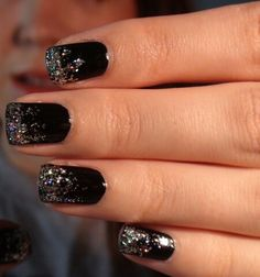 Black nails with silver glitter