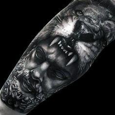 Greek God With Lion Head Realistic Mens Leg Tattoo Sleeve
