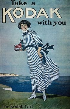 "Kodak: 1900: An advertisement for Kodak cameras featuring ""The Kodak Girl"""