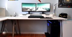 White double monitor gaming/productive clean setup