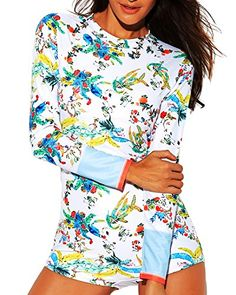 021d3a2e0641d Summer Vacation Outfits, Rash Guard Women, Surfing, Zip, Long Sleeve,  Prints, Sleeves, Swimwear, Swimsuits