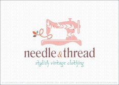 Logo for sale: Vintage stylized sewing machine with natural leaf pattern created with in the white space. A single thread flows away from the desing.