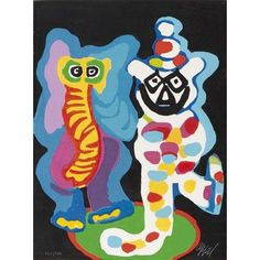 View Ils sont de la Famille from the series Cirque, Miroir du Monde By Karel Appel; Engraving and carborundum in colours; 76 x 57 cm; Access more artwork lots and estimated & realized auction prices on MutualArt. Clown Cirque, Le Clown, Circus Poster, Circus Art, Cobra Art, Send In The Clowns, Colorful Artwork, Global Art, Wood Sculpture