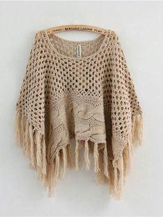 ponchos tejidos a crochet ile ilgili görsel sonucu Knitted Poncho, Knitted Shawls, Crochet Shawl, Crochet Stitches, Crochet Diy, Love Crochet, Crochet Crafts, Feminine Mode, Knitting Patterns