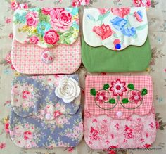 pretties. Wish I could read the instructions on these pretty little bags.  Love the fabric combinations..../sg