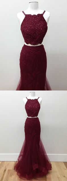mermaid prom dresses,two piece prom dresses,long prom dresses,lace prom dresses,burgundy prom dresses @simpledress2480