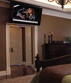 Ceiling Mounted Tv For Bedroom On A 360 Swivel May Need A