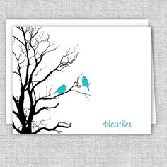 Birds in a Tree Silhouette Note Cards  Set of 10  by AJsPrints