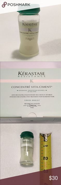 Kerastase Concentre' Vita Ciment Hair Treatment Kerastase Concentre' Vita Ciment single use vial. New. Deep conditioning treatment for damaged hair. Only available in salons. One bottle only. Picture of box is for informational purposes only & is not included. L'Oreal Kerastase Vita Ciment intensive hair treatment - new / sealed vial. Use with an attachable sprayer (not included) or by massaging into wet hair. Leave in hair 5 minutes, the rinse out. Intensive Treatment repairs weakened…