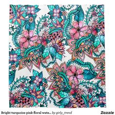 Bright turquoise pink floral watercolor shower curtain
