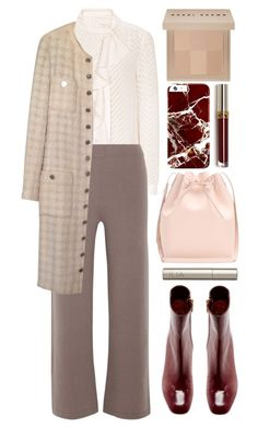 """secretary"" by foundlostme ❤ liked on Polyvore featuring Reiss, Allude, Chanel, Rosetta Getty, Mansur Gavriel, Ilia, Bobbi Brown Cosmetics, office, falltrend and necktieblouse"