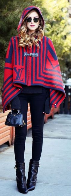 Louis Vuitton Striped Cape by The Blonde Salad