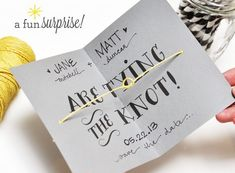 DIY Tying The Knot Save The Date Photo and Tutorial by SmittenByPaper.com. #funnysavethedates