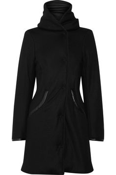 Clemens en August's faux-leather trimmed and hooded wool coat