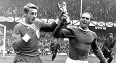Rodger Hunt of Liverpool and Ray Wilson of Everton parade the Jules Rimet (World Cup) Trophy around Goodison park shortly before the 1966 Charity Shield final www.betfred.com/football Fa Community Shield, Merseyside Derby, World Cup Trophy, Goodison Park, Everton Fc, Liverpool, Charity, Football, In This Moment