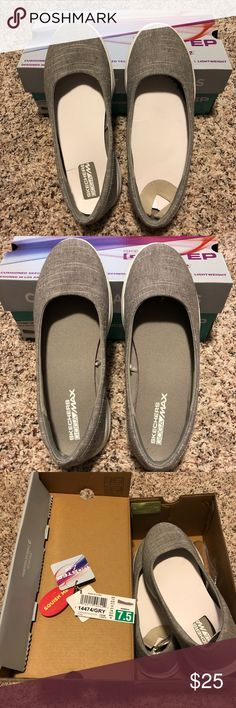 Skechers Go Lite Slip On Cute and comfortable Skechers Go Lite Slip Ons in light gray, size 7.5.  I only wore these once for a stroll around the block just to try them out.  They are easy to slip on and off and very comfortable but they're just not my style.  They are like brand new, I didn't even take the pads out when I tested them! Skechers Shoes Athletic Shoes