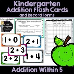Kindergarten Addition Flash Cards- Fact Fluency Within Includes record forms Kindergarten Flash Cards, Kindergarten Addition, Subtraction Kindergarten, First Grade Addition, Addition Flashcards, Math Fact Fluency, Teen Numbers, Addition Facts, Writing Numbers