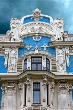 Art Nouveau Architecture in Riga, Latvia .