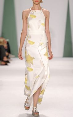 Botanical Floral Techno Jersey Belt Gown by Carolina Herrera for Preorder on Moda Operandi