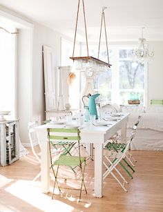 I normally don't like so much white, but I think the pops of green and sea-glass blue make this!