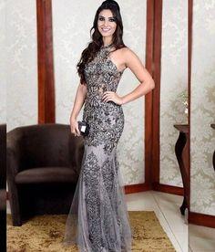 vestido de festa cinza