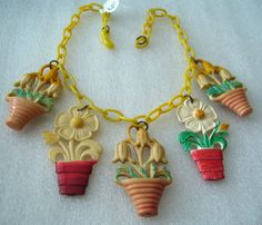Vintage Celluloid Flowers' Pots Charms WWII Necklace
