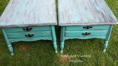 End tables restyled with American Paint Company chalk /clay/ mineral paint.  Beach glass and wild horses
