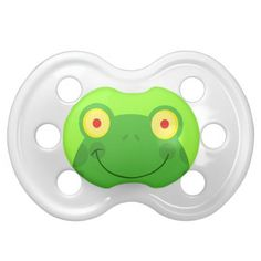Cute silly froggy frog face cartoon character baby pacifiers. Unique Baby Pacifiers