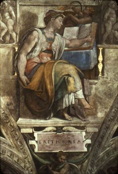 Michelangelo, Detail, Sistine Chapel, Erithraean Sibyl, 1512