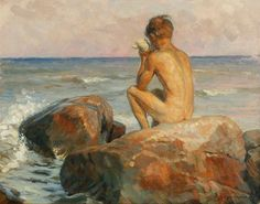 Coastal scene with a boy-  John Grenness was born in Drammen, Norway. In 1896-99 Grenness studied at P. S. Krøyer's ...