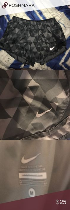 Prism Nike running shorts! Lightly worn size medium grey Nike running shorts with a geometric pattern! Great for working out or housewear! nike Shorts