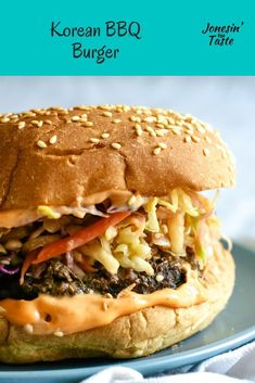 This incredible easy Korean BBQ Burger is packed full of flavor with a grilled b. <img> This incredible easy Korean BBQ Burger is packed full of flavor with a grilled burger topped with Korean style coleslaw for an easy Asian inspired dinner. Pork Burgers, Bbq Burger, Paleo Burger, Burger Toppings, Burger Recipes, Beef Recipes, Asian Burger Recipe, Grilled Recipes, Cooking Recipes
