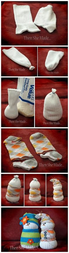 Adorable Sock Snowmen- now I will start keeping those run-away socks without a partner!