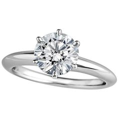Pre-owned Tiffany & Co. 1.37 Carat Diamond Platinum Engagement Ring ($16,500) ❤ liked on Polyvore featuring jewelry, rings, engagement rings, fox ring, platinum diamond ring, diamond engagement wedding rings, pre owned rings and round ring