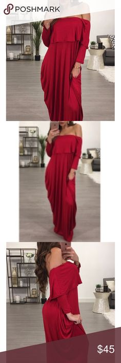 *PRE-ORDER*BRAND NEW* Beautiful Dress Fashion Dew Shoulder Falbala Design Wine Red Cotton Blend Ankle Length Dress; perfect quality Dresses Maxi