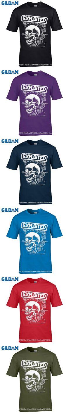 GILDAN Punk Style Skull Mens T-Shirt Exploited Printed   New Casual Short Sleeve O-Neck T shirts Streetwear Hip Hop Tops Tee