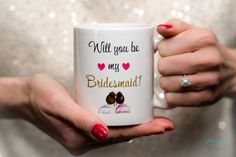 Will you be my Bridesmaid?  Hochzeit Trauzeugin Tasse mit Herz Geschenk; Bridesmaid Question - Maid of Honor