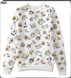 Japanese Game Neko Atsume ねこあつめ Cute Cat Casual Long Sleeve T-shirt Sweater