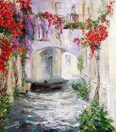 Spanish cityscape painting Old street art work Greek street Knife painting Impressionism Blooming tr Peony Painting, Oil Painting On Canvas, Painting & Drawing, Canvas Art, Knife Painting, Watercolor Painting, Your Paintings, Landscape Paintings, Original Paintings