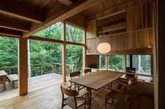 toshihito yokouchi architect & associates has completed a wooden villa for year-round use at the foot of the yatsugatake mountains in japan. Bergen, Weekend House, Wooden House, Cabin Homes, Villa, House Design, Windows, Deco, Building