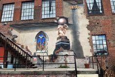 Street Art - Asheville, NC - A trompe l'oeil piece by Ian Wilkinson at the Cotton Mill Studios on Riverside Drive. 6/1/13 - Robert Bradley (rabradle@gannett.com)