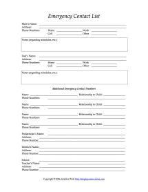 emergency contact information sheet